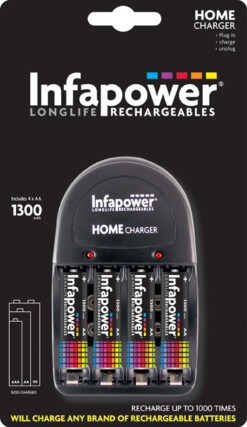 INFAPOWER HOME CHARGER & 4xAA 1300mAh BATTERIES