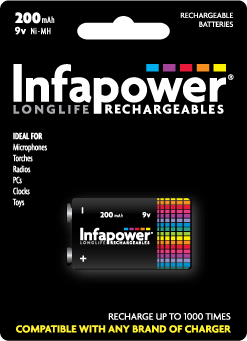 9V 200mah INFAPOWER RECHARGEABLE BATTERY
