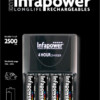 INFAPOWER 4 HOUR CHARGER & 4xAA 2500mAh BATTERIES.