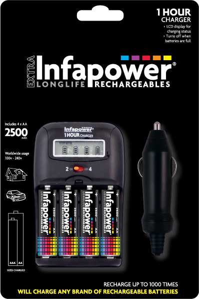INFAPOWER 1 HOUR CHARGER & 4xAA 2500mAh BATTERIES.