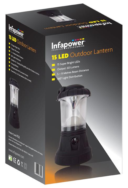 INFAPOWER 15 LED OUTDOOR LANTERN INC BATTS