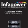 INFAPOWER 122H 2/3rd AAA CORDLESS PHONE BATTERY 1.2V 400mAh Ni-M