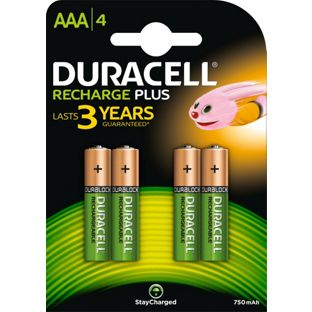 DURACELL AAAB4 750mAh RECHARGEABLE PLUS