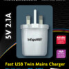 Fast USB Twin Mains Charger for Worldwide use