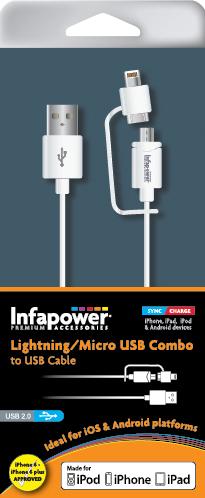 Lightning / Micro USB Combo to USB cable