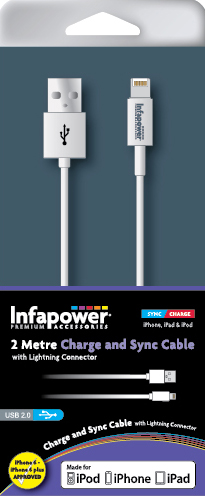 Charge and Sync cable with Lightning Connector  (2 Metre)