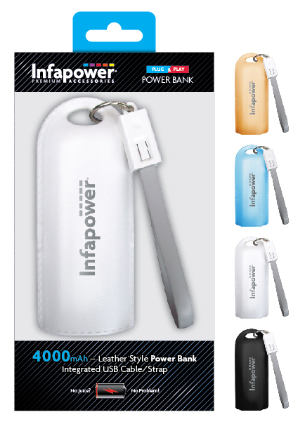 POWER BANK Leather Style Portable Mobile Phone Charger (4000MaH)