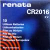 RENATA CR2016 LITHIUM COIN BATTERY (Box of 10)