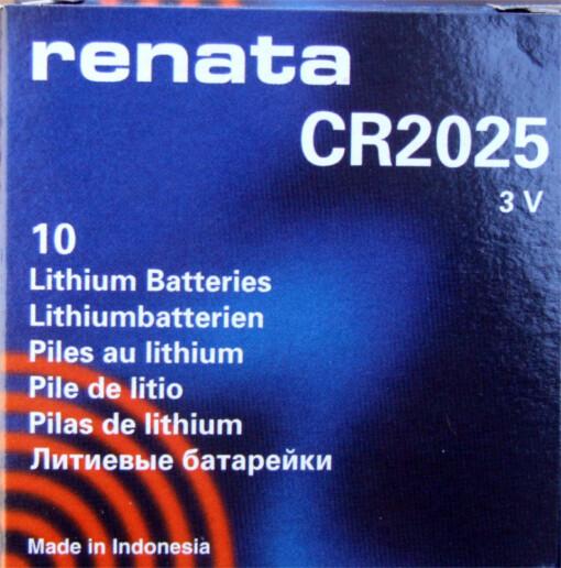 RENATA CR2025 LITHIUM COIN BATTERY (Box of 10)