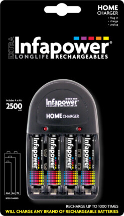 INFAPOWER HOME CHARGER & 4xAA 2500mAh BATTERIES