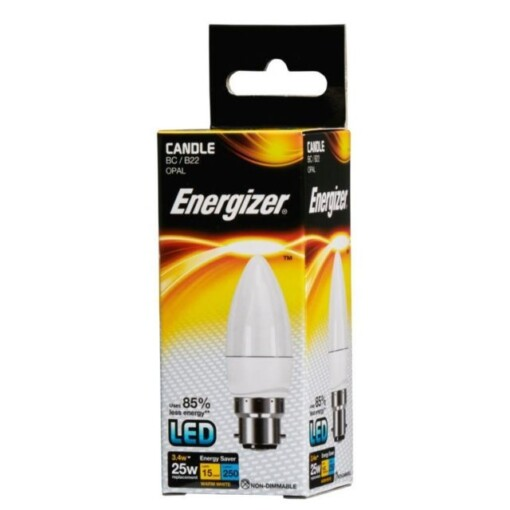 3.4w (25w) BC B22 Frosted Candle Energizer 250 lumens