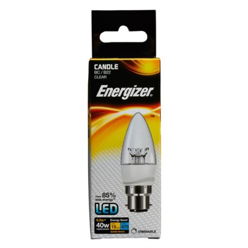 DIMMABLE 6.5W  B22 BC ENERGIZER LED CANDLE S8854