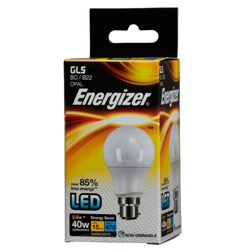 5.6W (40W) Warm White GLS BC LED Lamp Energizer S8857 470LM