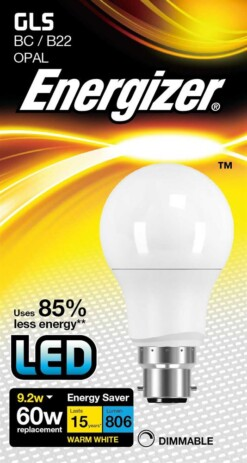 Dimmable 9.2W Warm White GLS B22 LED Lamp Energizer S9420 806LM